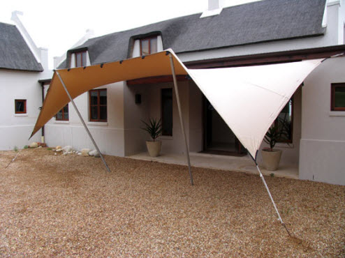 Freeform terras tent polyned