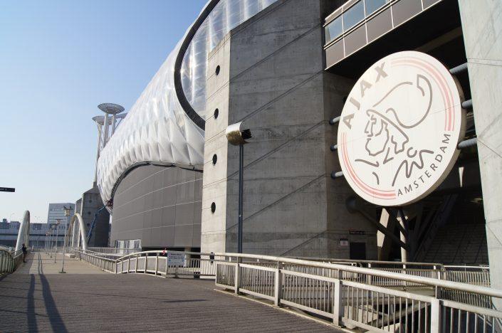 Gevel voorzien van gaasweefsel; Johan Cruijf stadion